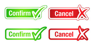 Confirm and Cancel Buttons with Checkmarks royalty free illustration