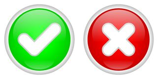 Confirm and Decline buttons. Green confirm and red decline buttons over white background vector illustration