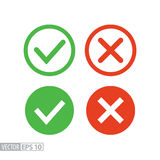 Confirm and deny flat icon. Vector logo for web design, mobile and infographics. Confirm and deny flat icon. Sign confirm and deny. Vector logo for web design Royalty Free Stock Photos