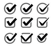 Confirm icon. Vector black illustration of confirm icon on white stock illustration