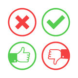Confirm and reject icons. Confirm and reject icon set. Yes or No validation button collection. Thumbs up and down mark in flat style. Green tick, red cross vector illustration