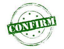 Confirm. Rubber stamp with word confirm inside, illustration royalty free illustration