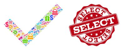 Confirm Selection Composition of Mosaic and Distress Stamp for Sales stock images