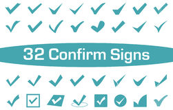 Confirm Sign Icon Set. Isolated Checkmark Icon Set in Blue stock images