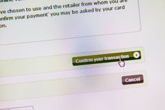 Confirm your transaction button, electronic payment Stock Images