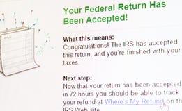 Confirmación eFiling del impuesto fotos de archivo