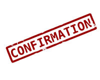 Confirmation. Rubber ink stamp Stock Photo