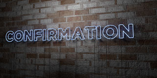 CONFIRMATION - Glowing Neon Sign on stonework wall - 3D rendered royalty free stock illustration Royalty Free Stock Image