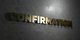 Confirmation - Gold text on black background - 3D rendered royalty free stock picture. This image can be used for an online website banner ad or a print Royalty Free Stock Photo