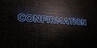 CONFIRMATION -Realistic Neon Sign on Brick Wall background - 3D rendered royalty free stock image Stock Photography