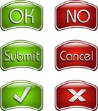 Confirmation and rejection icons. Set of green and red basic confirmation and rejection icons Stock Photography