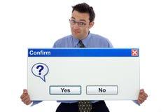 Confirme a caixa de diálogo Fotografia de Stock