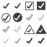 Confirme os ícones ajustados no fundo branco ilustração royalty free