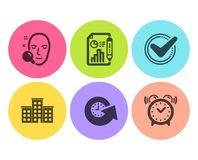 Confirmed, Company and Face search icons set. Report document, Update time and Alarm clock signs. Vector. Confirmed, Company and Face search icons simple set vector illustration