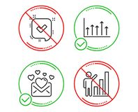 Confirmed, Love mail and Growth chart icons set. Graph chart sign. Vector. Do or Stop. Confirmed, Love mail and Growth chart icons simple set. Graph chart sign vector illustration