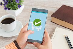 Confirmed Smartphone Order Success. Online Payment Concept royalty free stock images