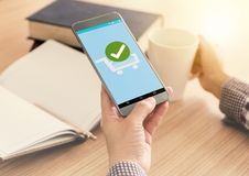 Confirmed Smartphone Order Success. Online Payment Concept stock photos