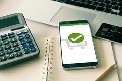 Confirmed Smartphone Order Success. Online Payment Concept stock photo