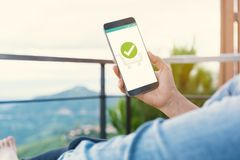 Confirmed Smartphone Order Success. Online Payment Concept royalty free stock photography