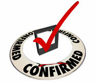 Confirmed Verified Check Mark Box Review Information Stock Images