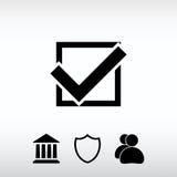 Confirmez les icônes ; dirigez l'illustration Style plat de conception Images libres de droits