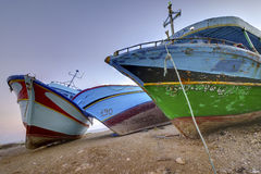 Confiscated clandestine boats Royalty Free Stock Photo