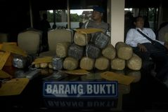 CONFISCATED DRUGS. Illegal drugs and narcotic packages that are confiscated by Indonesian Police from drug suspects, on a press conference at Surakarta Police Royalty Free Stock Photography
