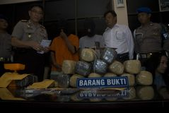CONFISCATED DRUGS. Illegal drugs and narcotic packages that are confiscated by Indonesian Police from drug suspects, on a press conference at Surakarta Police Royalty Free Stock Photos