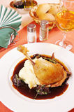 Confit of duck with mashed potatoes Stock Images