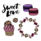 Confitería del sistema del vector e iconos de los dulces Postre, piruleta, helado con los caramelos, macaron y pudín Buñuelo y ca stock de ilustración