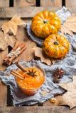Confitura del atasco de la calabaza de otoño de la caída con las especias Fotografía de archivo