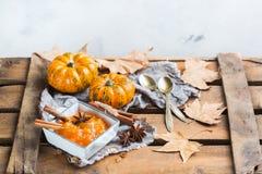 Confitura del atasco de la calabaza de otoño de la caída con las especias Foto de archivo