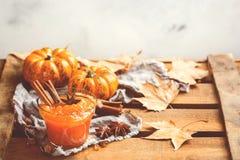 Confitura del atasco de la calabaza de otoño de la caída con las especias, entonadas Fotos de archivo