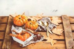 Confitura del atasco de la calabaza de otoño de la caída con las especias, entonadas Fotografía de archivo libre de regalías