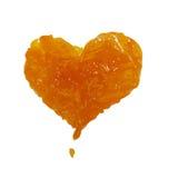 Confiture, coeur, confiture d'oranges d'amour Tache, éclaboussure sur un fond blanc Image stock