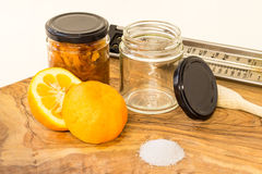 Confiture d'oranges et ingrédients Photos stock