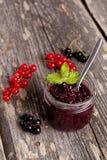 Confiture de baie dans un pot en verre et des groseilles rouges fraîches sur le conseil en bois, Photographie stock libre de droits