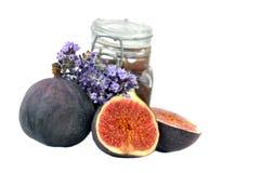 Confiture de figue avec les fruits frais Photographie stock libre de droits