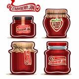 Confiture de fraise de logo de vecteur dans des pots en verre Image libre de droits