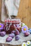 Confiture de prune de pot de cuisine de fin d'été Photographie stock libre de droits