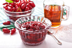 Confiture from fruits of cornel Royalty Free Stock Images