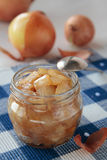 Confiture of onions in jar Stock Images