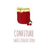 Confiture-pot de cerise, collection douce de confiserie, élément pour la conception Images stock