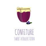 Confiture-pot de myrtille, collection douce de confiserie, élément pour la conception Image libre de droits
