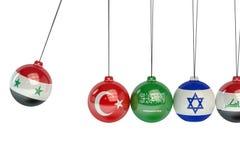 Confl politique de guerre de la Syrie, de la Turquie, du Saoudien, de l'Arabie, de l'Israël et de l'Irak illustration stock