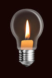 A conflagrant candle is in a electric bulb Royalty Free Stock Image