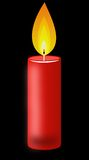 Conflagrant candle of red color on a black background Stock Photos