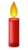 Conflagrant candle of red color on a white background Stock Image