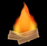 A conflagrant fire on a black background. Illustration Stock Photos
