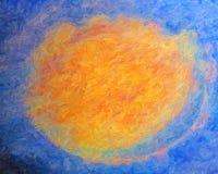 Conflagration cosmique, style abstrait de peinture à l'huile Photo stock